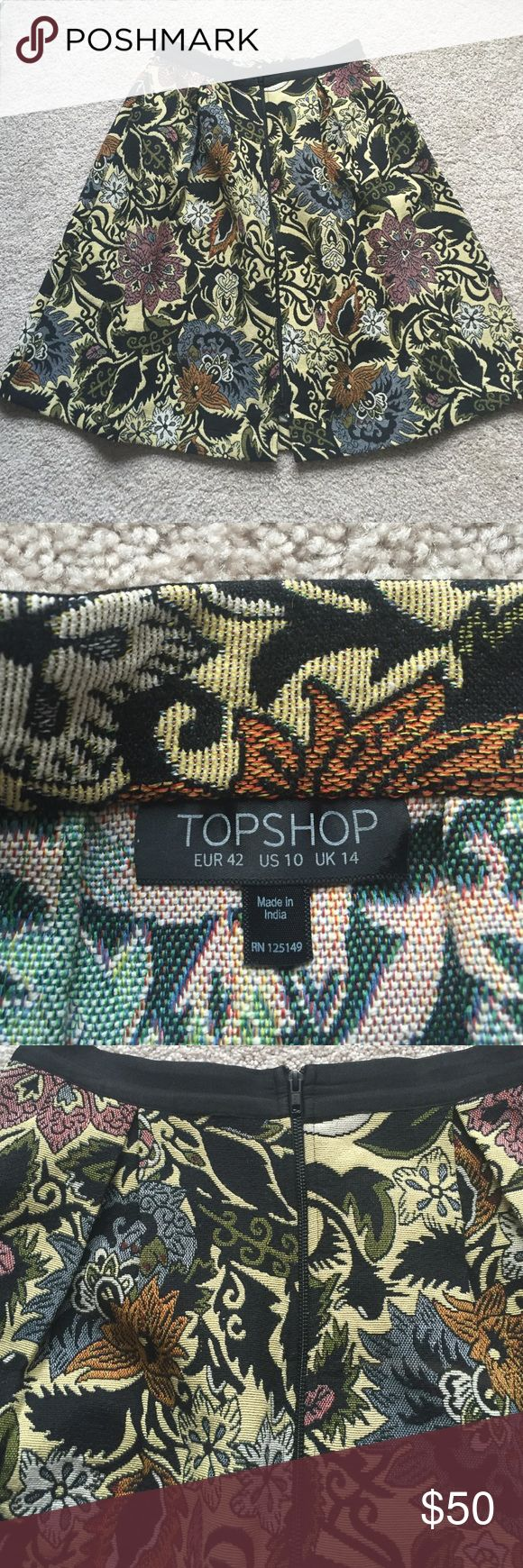 """Topshop tapestry a line skirt sz 10 Beautiful heavy knit tapestry a line skirt! Zipper down front and has pockets ! Pics don't do this beauty justice :) waist measures 15"""" and length is 27"""". Sits high waisted. Topshop Skirts A-Line or Full"""