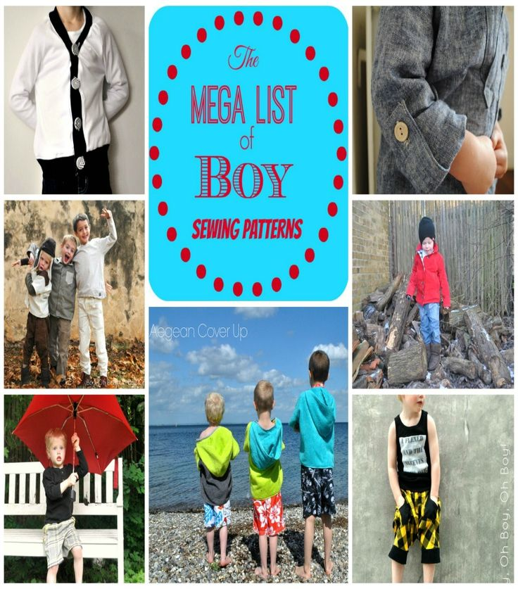 Finally a list of boy sewing patterns to get you excited to sew for the little boy in your life.