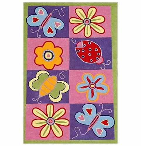 3'x5' Kids Purple Pink Butterflies Flowers Ladybugs Printed Area Rug Indoor Graphical Pattern Living Room Rectangle Carpet Graphic Art Themed Vibrant