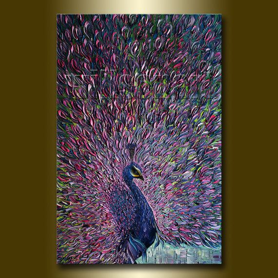 Peacock Modern Oil Painting Textured Palette Knife Contemporary Original Animal Art 24X36 by Willson Lau