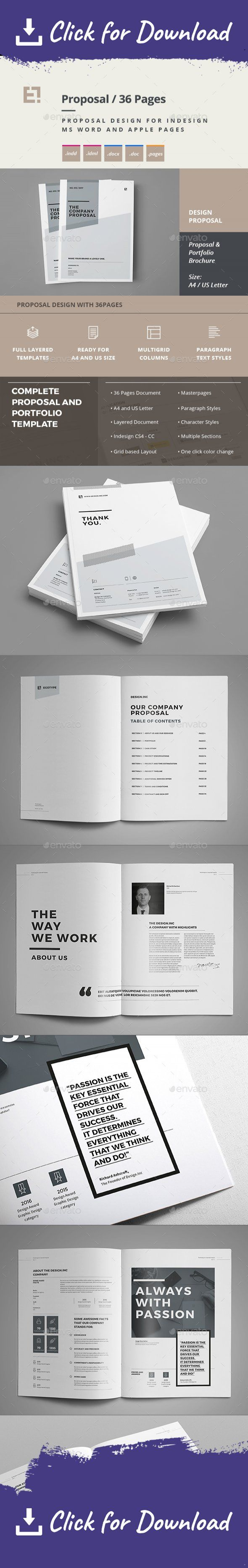 Proposal and Portfolio Template Minimal and Professional Proposal Brochure template for creative businesses, created in Adobe InDesign, Microsoft Word and Apple Pages in International DIN A4 and US Letter format   Have a detailed preview:  Get a High Resolution Live Preview Preview here: – Click here…  	    This  Proposal Template features:   A4 size : 210×297 mm + 3 mm Bleeding  CMYK @ 300 DPI – Print-ready Adobe InDesign for CS4, CS5, CS6, CC and CC2015 (.idml, .indd) Microsoft Wo...