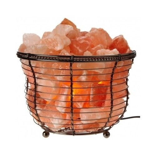 Natural Air Purifying Himalayan Light Basket Salt Crystal Chunk Lamp Bulb Dimmer #WBM
