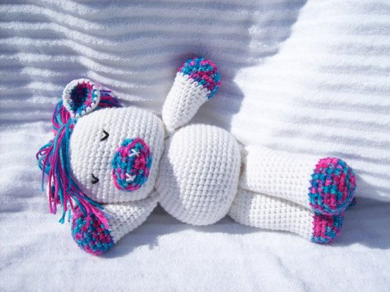 Crochet Horse Stuffed Animal in White and Cotton Candy Pattern, Crochet Animal, Horse Plush, Western Nursery Decor, Horse Nursery Decor #Etsy #EtsyAAA