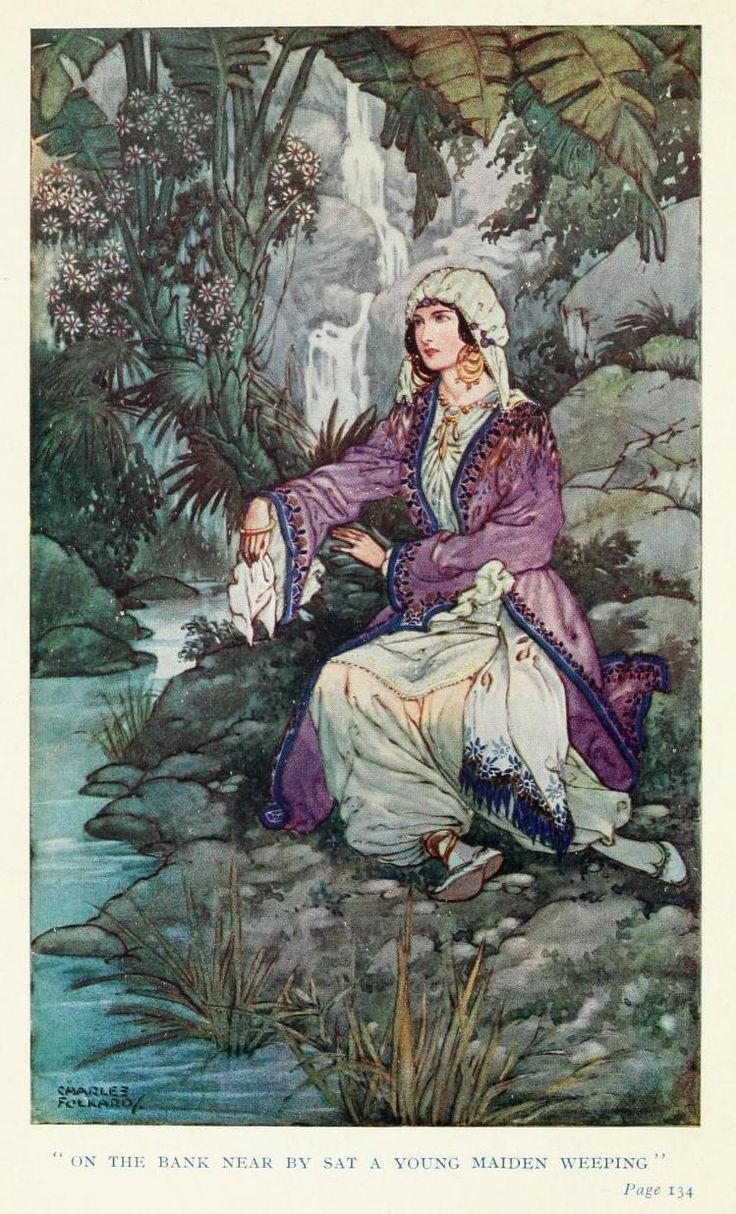 On the bank near by sat a young maiden weeping - Ottoman Wonder Tales by Lucy M.J. Garnell, 1915