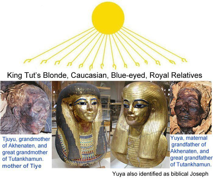 The two priceless mummies  at the Egyptian museum were those of Yuya and Tjuya, which recent DNA tests identified as King Tut's great-grandparents. Yuya has also been identified as the biblical Joseph, and their daughter, Tiye.....Les deux momies inestimables du musée égyptien étaient celles de Yuya et de Tjuya, que de récents tests ADN ont identifiés comme étant les arrière-grands-parents du roi.Les deux momies inestimables du musée égyptien étaient celles de Yuya et de Tjuya, et du roi Tut
