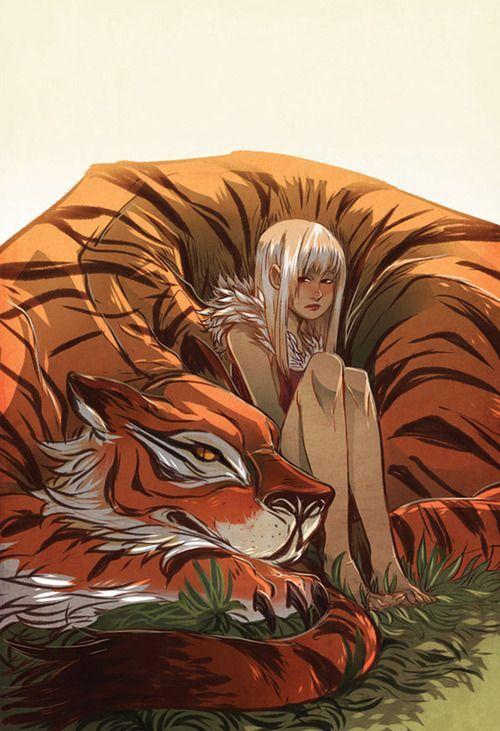 Tiger girl, a garota e seu tigre.