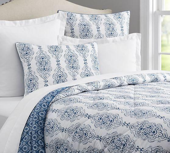 Dessi Print Reversible Comforter & Sham - Blue | Pottery Barn