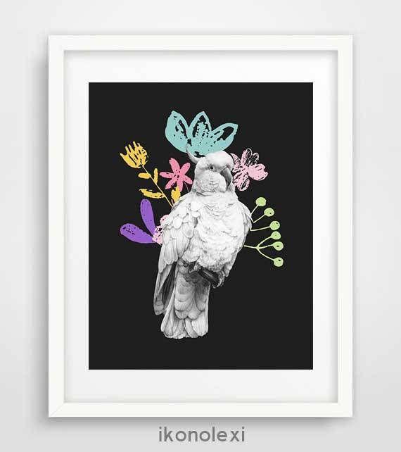 Room decor DIY white cockatoo black and white wall art bird