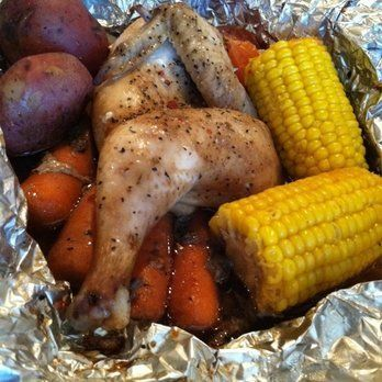 Campfire Chicken With Chicken Pieces, Butter, Corn-on-the-cob, New Potatoes, Carrots, Salt, Pepper, Seasoning, Olive Oil
