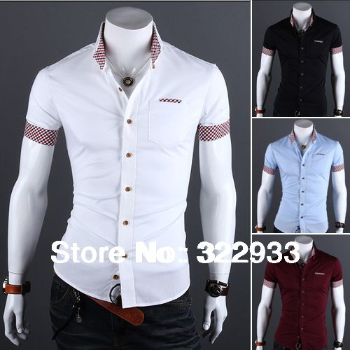 Brazil's style 2014 Fashion Summer Slim solid color Aliexpress men's Short-sleeved Casual shirt  Free Shipping Wholesale M-XXXL US $10.68 - 11.99