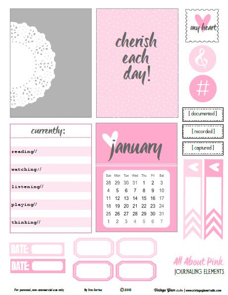 Free printable download with pink and grey themed journaling cards and elements for your personal papercrafting use. Ideal for pocket scrapbooking.