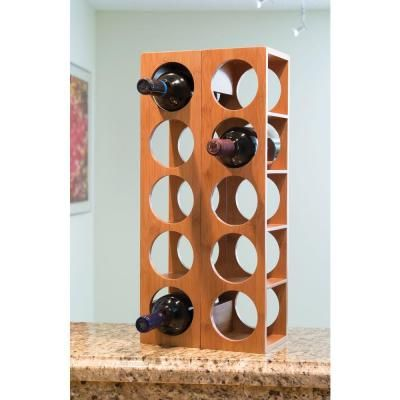 Lipper International 4.75 in. x 20.75 in. x 5.37 in. Bamboo 5 Bottle Stackable Wine Rack-8305 - The Home Depot