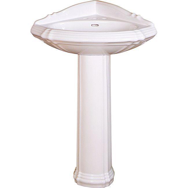 Corner pedestal sinks for