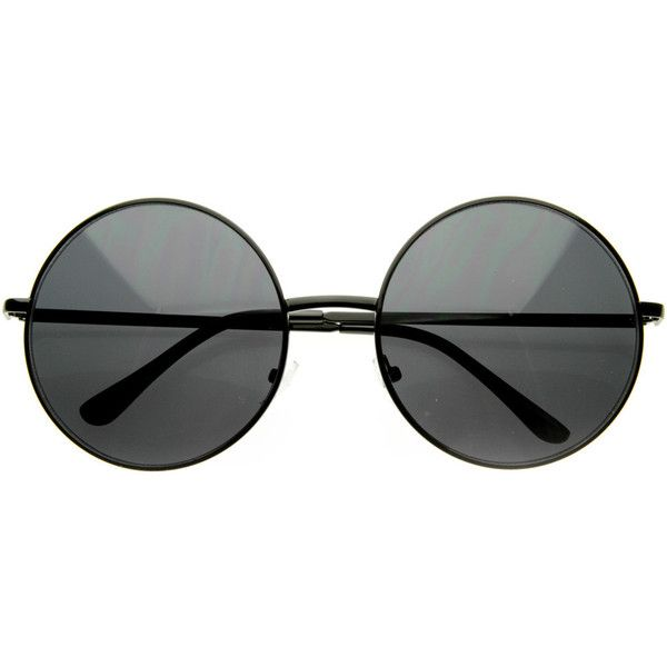Oversize Vintage Inspired Metal Round Circle Sunglasses 8370 ($9.99) ❤ liked on Polyvore featuring accessories, eyewear, sunglasses, glasses, occhiali, circular glasses, oversized glasses, round frame sunglasses, round metal sunglasses and vintage style sunglasses