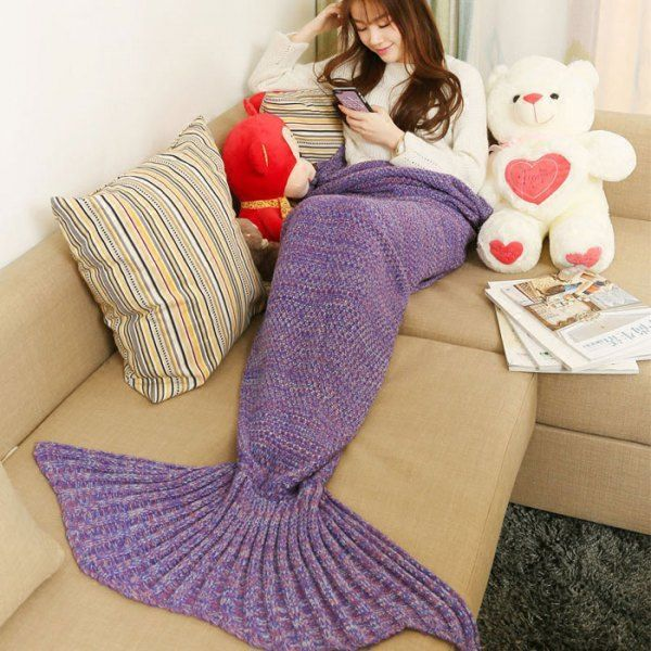 crocheted mermaid tail blanket