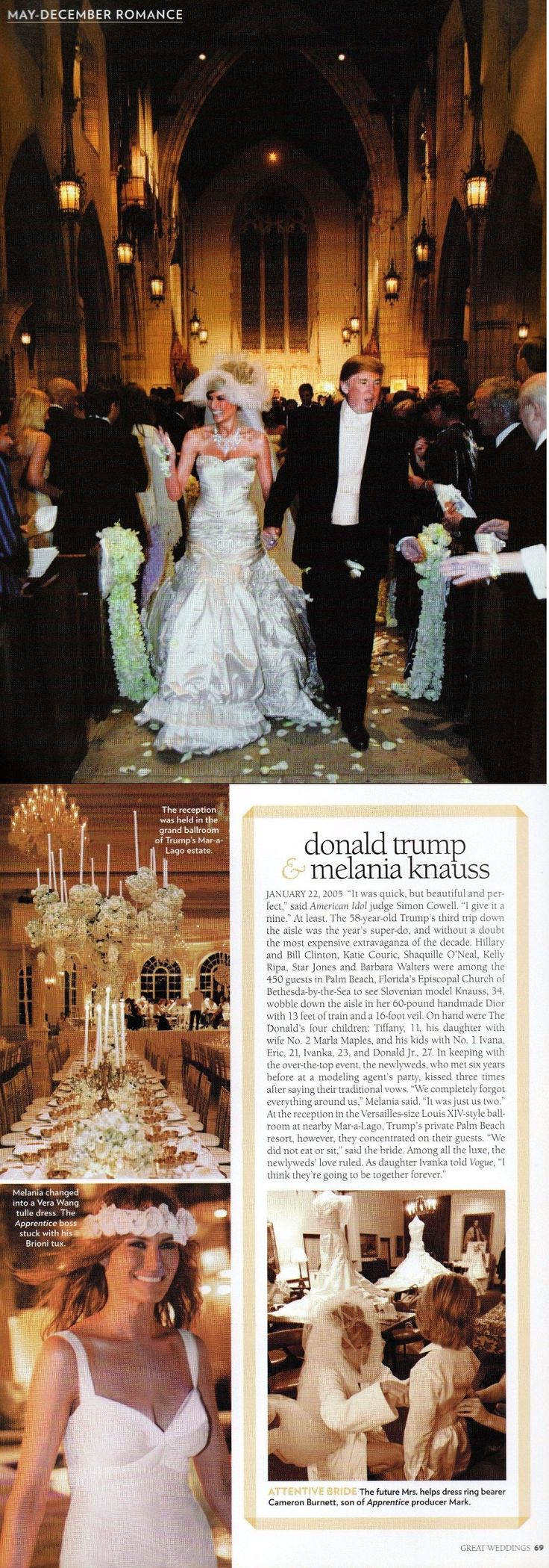 Donald Trump And Melania 2 Page Clipping Wedding BUY IT NOW