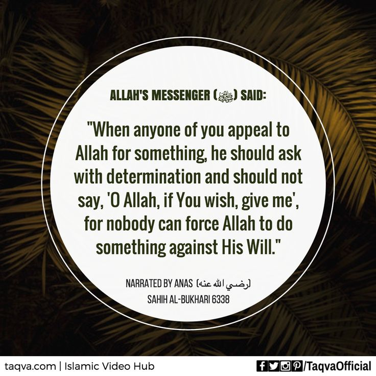 """Narrated Anas (radiAllahu anhu): #Allah's #Messenger (#ProphetMuhammad sallallahu alaihi wasallam) said, """"When anyone of you appeal to Allah for something, he should ask with determination and should not say, 'O Allah, if You wish, give me.', for nobody can force Allah to do something against His Will."""" [Sahih al-Bukhari 6338] ___________________________ #islam #islamic #reminder #dua #islamicteachings #hadith #sunnah #tawakkul #hope #faith #belief #supplication #prayer #islamicquotes #taqva"""