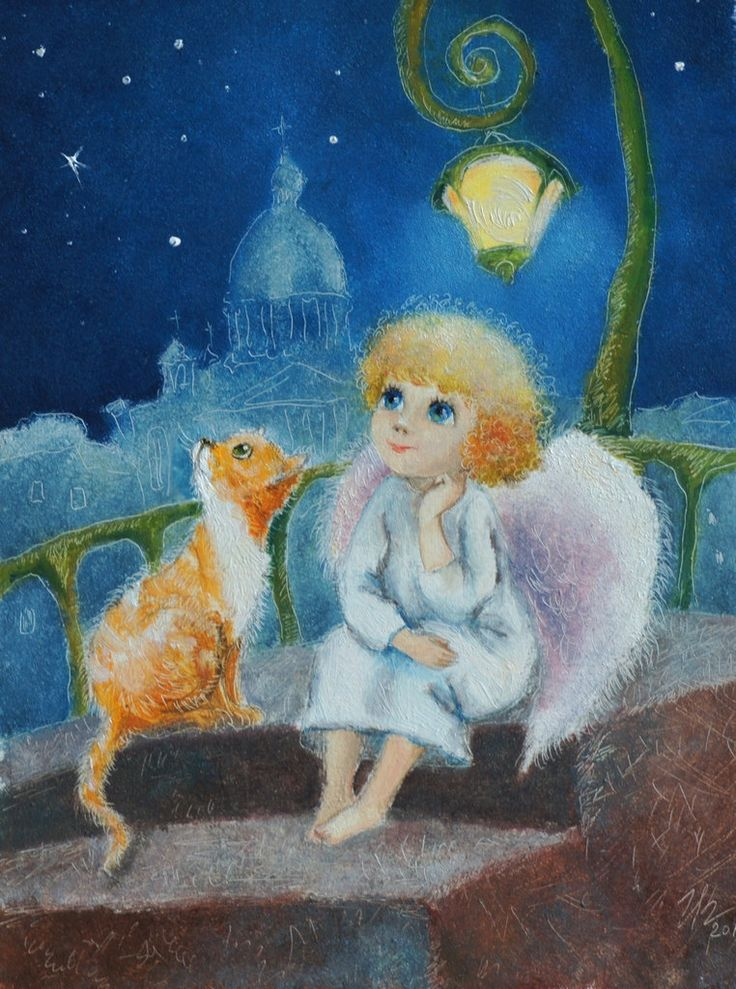 Guardian Angel by Mirabilitas   fantasy, cats, angels, night paintings