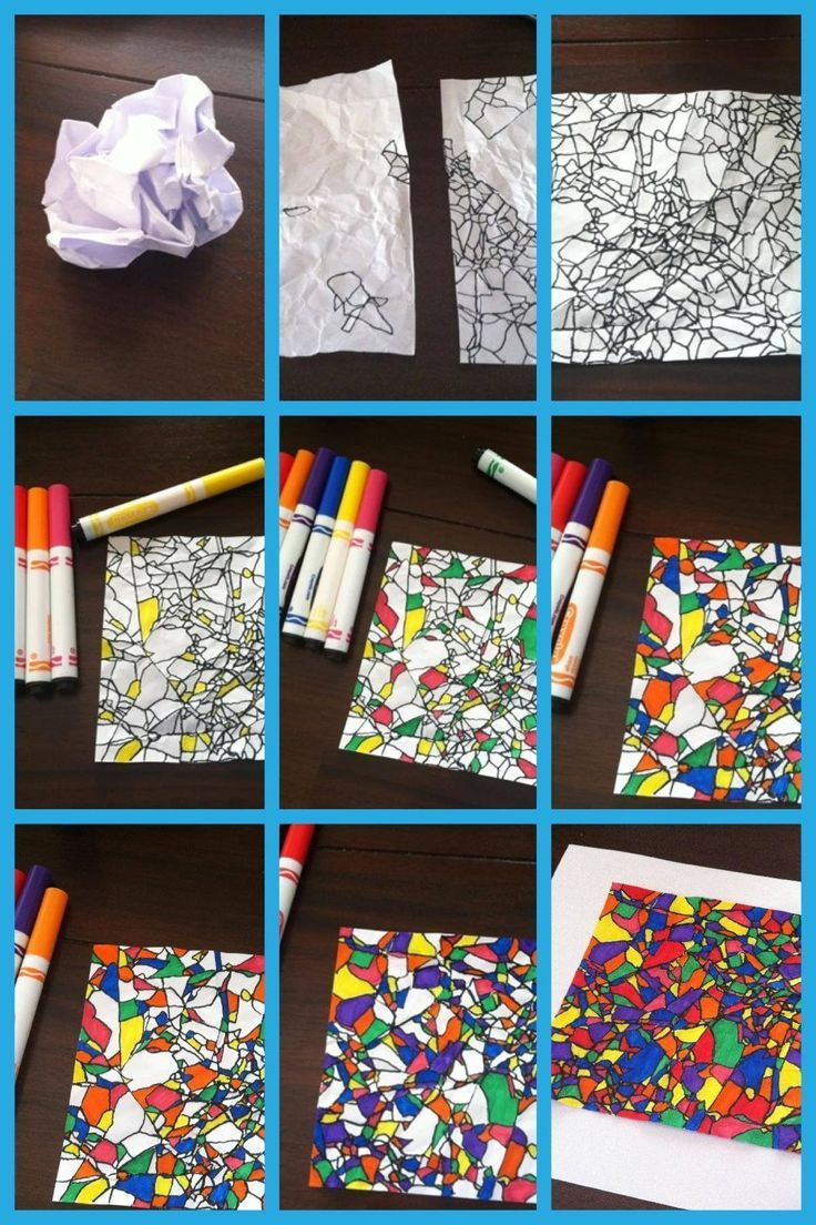 Crinkled paper & markers - This seems pretty simple! sub plan - fractured art