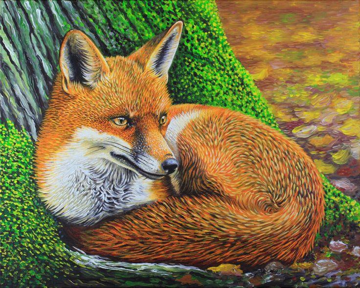 Autumn FOX #fox by Simon Knott - fine art wildlife artist England UK