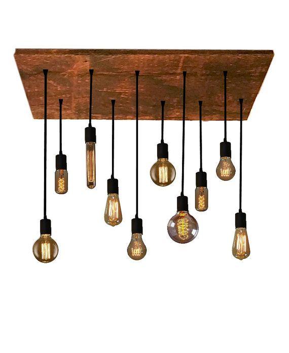 10 Edison Bulb Industrial Chandelier Pendant lights Urban Chandelier Reclaimed Wood Rustic lighting Modern Dining chandelier Ceiling Light