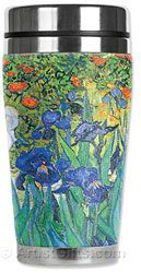 Take your favorite art with you! Our Van Gogh Irises insulated travel art mug is stainless steel with soft neoprene insulated cover. Made in the U.S.A.