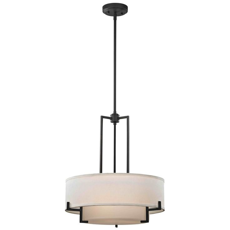 Modern Drum Pendant Light with White Glass in Bronze Finish at Destination Lighting