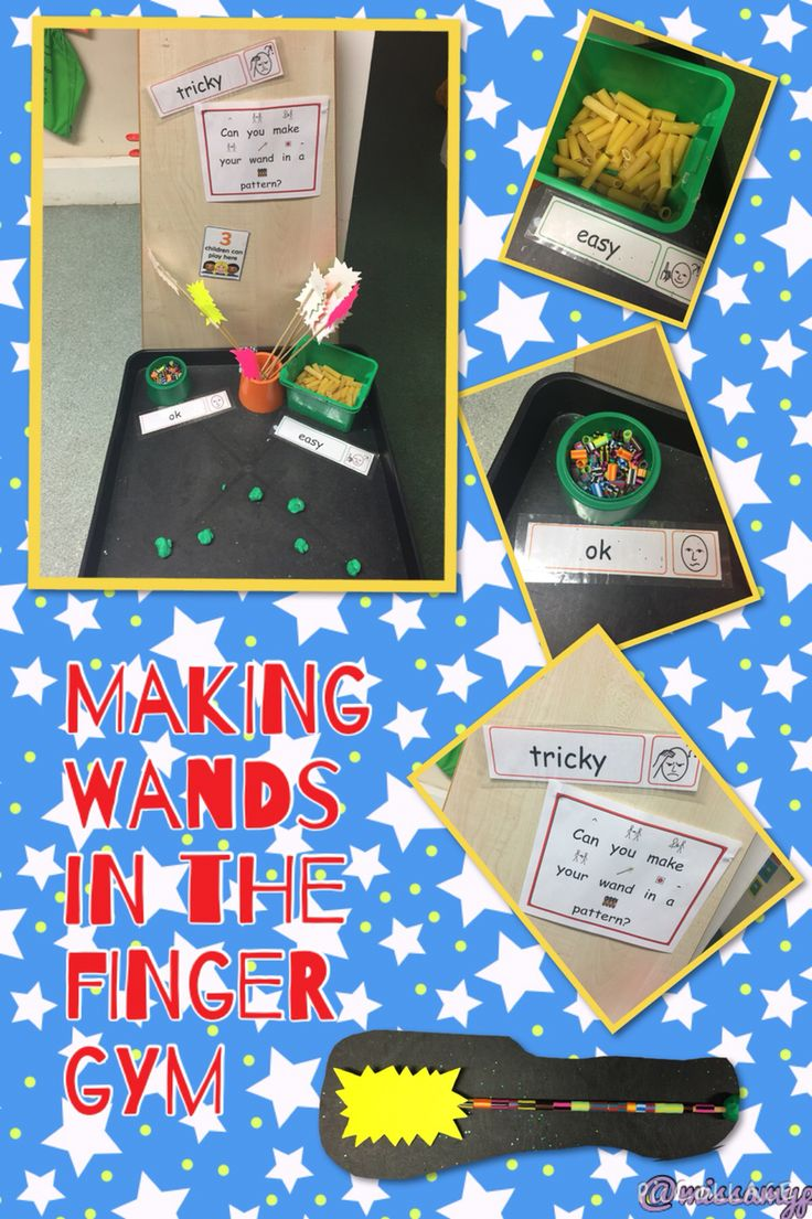Our levelled Finger Gym activity to encourage challenge. Making wands with beads and pasta.