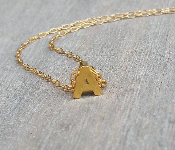 Pequeño collar de oro inicial collar carta de oro joyas oro