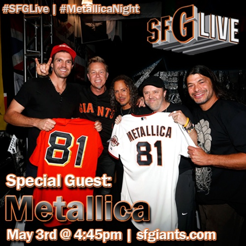#SFGiants fans, watch #SFGLive today!  We'll be gearing up to #BeatLA and hanging out with members of #Metallica in honor of #MetallicaNight!