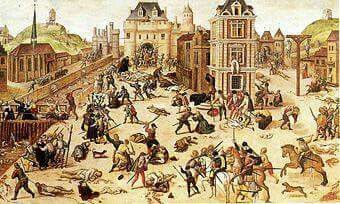 On August 24th, 1572, King Charles IX of France, persuaded by his mother, Catherine de Medici, ordered the assassination of Huguenot Protestant leaders in Paris, setting off a killing spree that resulted in the massacre of tens of thousands of Huguenots all across France. Days earlier, Catherine had ordered the murder of Admiral Gaspard de Coligny, a Huguenot leader whom she felt was leading her son into war with Spain.
