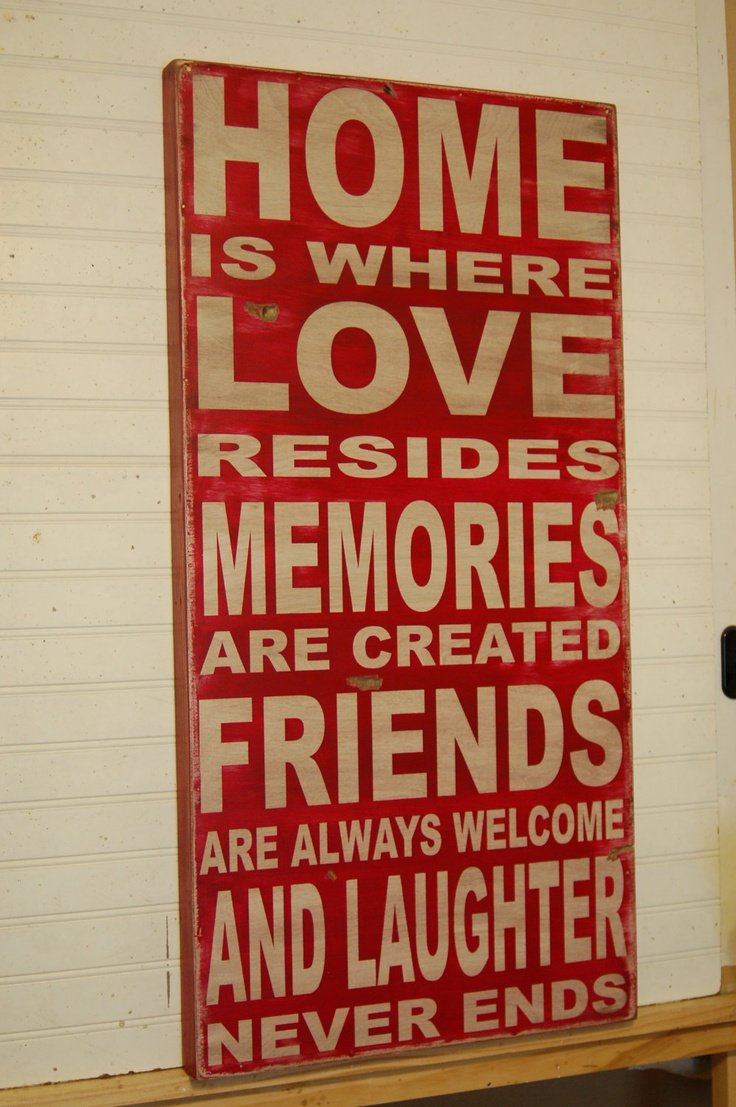 Home is where love resides - large handcrafted all wood sign - via Etsy.