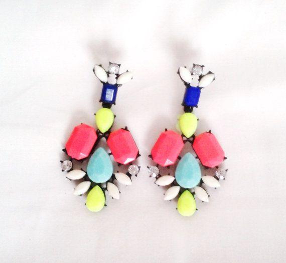 Retro Neon Chandelier Statement Earrings by LilyAndEllie.com, $16.00