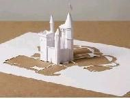 3D Kirigami and Origamic Architecture          When paper is cut to make pleasing artwork, it can be called kirigami. Thus pop-up cards, origamic architecture and other elaborate cut-outs can also be called kirigami. This type of artwork is beyond paper snowflakes and deserves to be shown in a separte page.