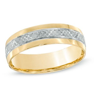 Men S 6 0mm Comfort Fit Wedding Band In 10k Two Tone Gold