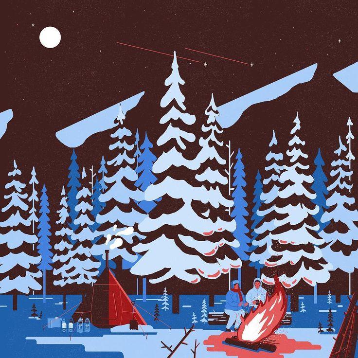 Winter Camping 3, night time  .  .  #illustration#illustrator#art#drawing#artist#painting#camping#night#campfire#일러스트#일러스트레이션#아트#드로잉#겨울#캠핑#취미