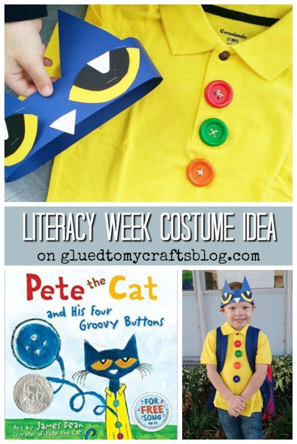 Groovy Buttons - Pete The Cat Costume Idea perfect for Literacy Week!!!