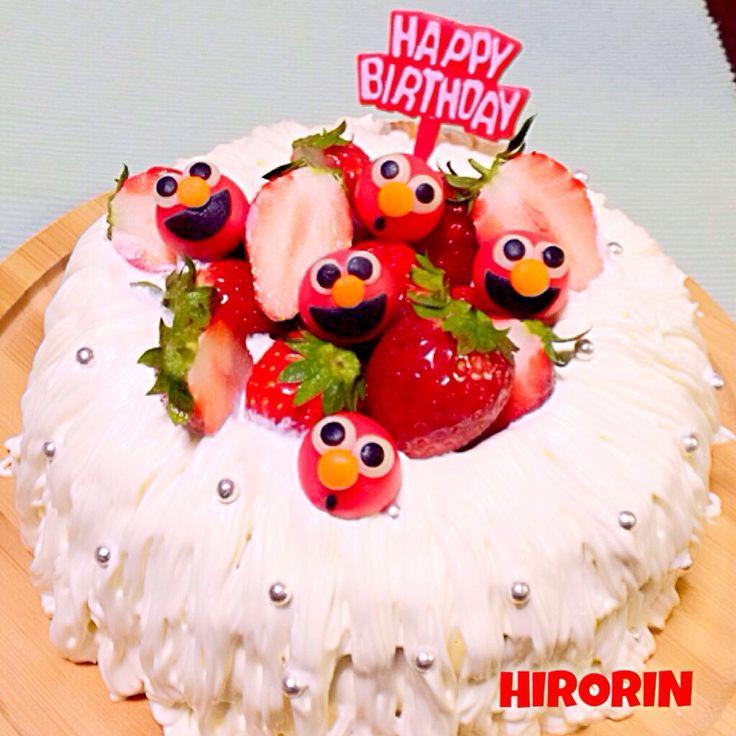 お誕生日のエンゼルケーキ♡ elmo cake