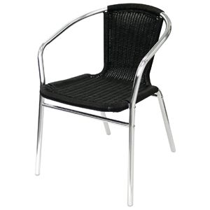 Bolero Aluminium and Wicker Chairs Black (Pack of 4)