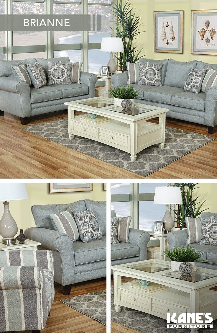 Bring the beauty of summer indoors with the Brianne set! Create a summertime chic living room with breezy blues and crisp whites.