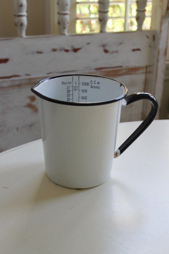 Large Vintage Enamelware Measuring Cup