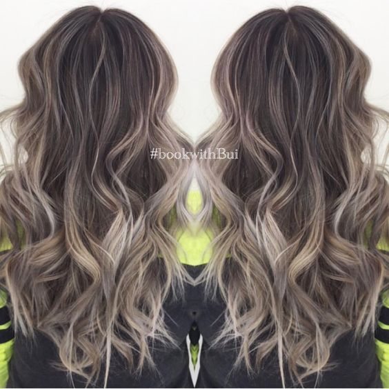 Image result for straight brunette hair with ash balayage