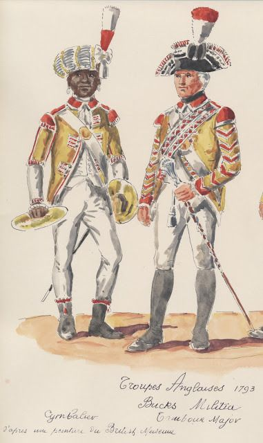 Troupes Anglaises ;  1793 . Bucks Militia . cymbalier, tambour-major.