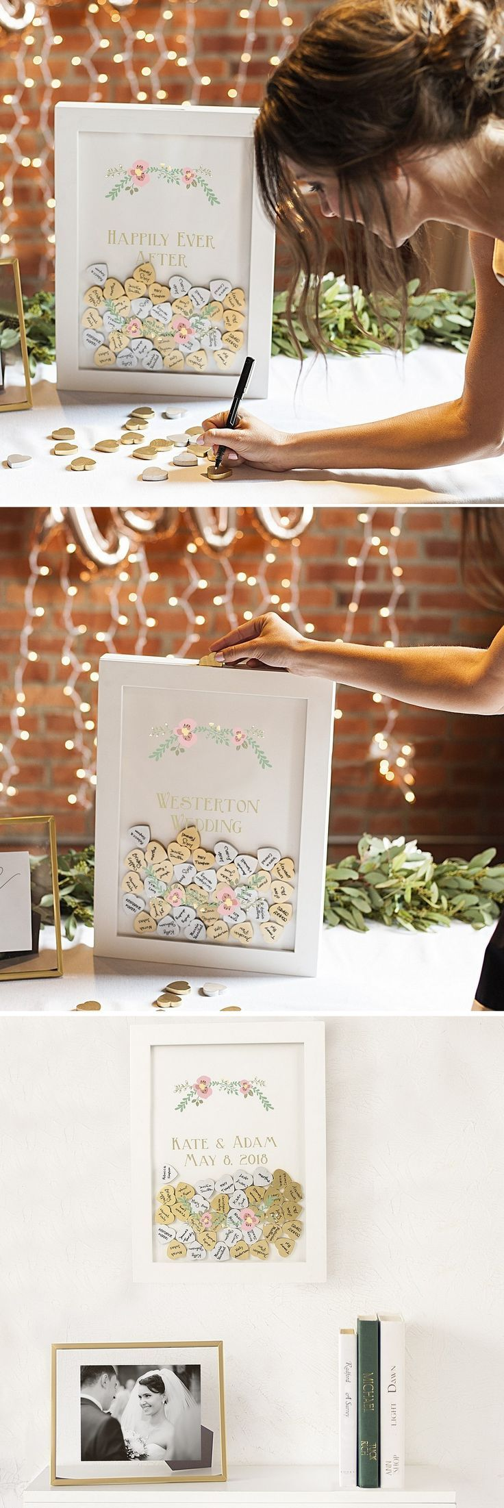 Give guests a fun way to be a part of your wedding day with this white guest signature shadow box personalized with choice of 2 custom lines of print, monogram and date, or large single initial with gold and silver wooden signature hearts to sign and drop