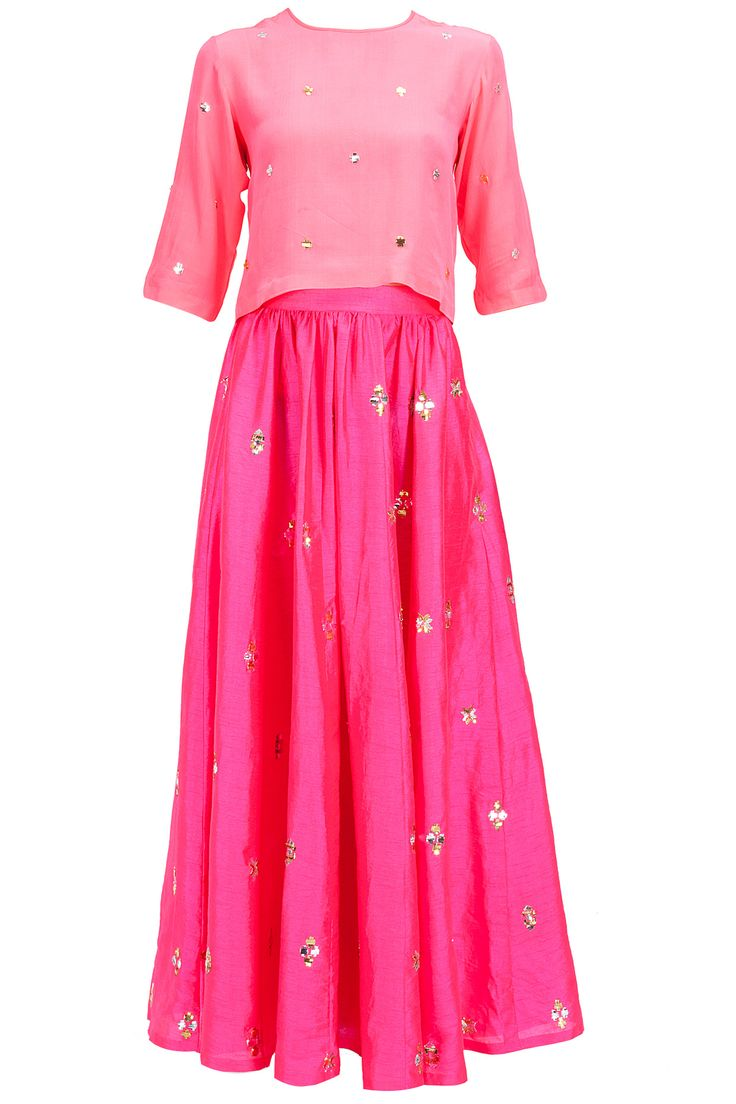 Fushia pink embroidered blouse with gathered skirt available only at Pernia's Pop-Up Shop.