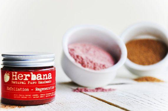 Organic Face Wash Scrub, Radiant Skin, Wild Cherry, Rejuvenation, Glowing Skin, Organic Exfoliate, Sparkle Skin, by Herbana Cosmetics.  Wild