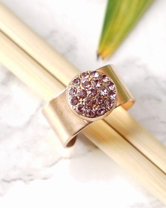 2580db1de5b8e Pink Ring For Women, Gold Chunky Ring, Gemstone Rings, Wide Ring ...
