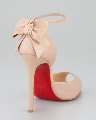 Christian Louboutin Dos Noeud Peep-Toe Ankle Wrap Red Sole Pump ...