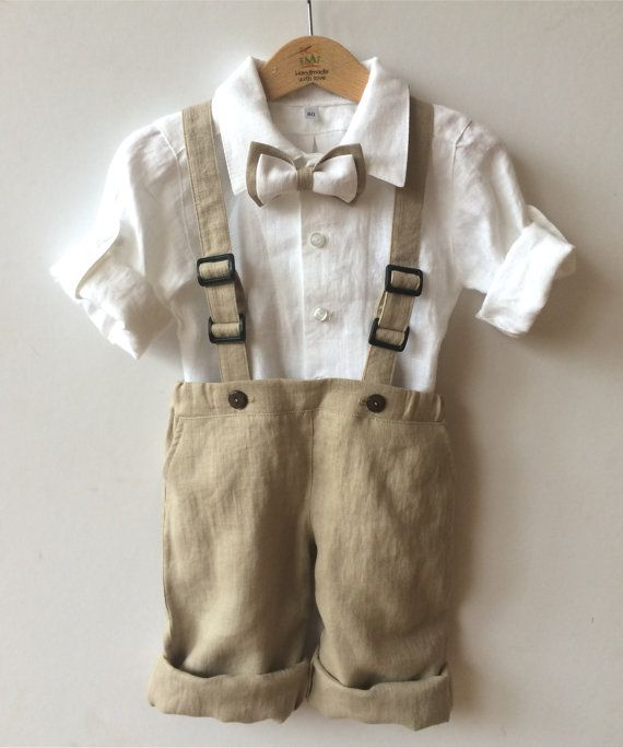 Ring bearer linen outfit Boys linen suit white beige by EcoEmi