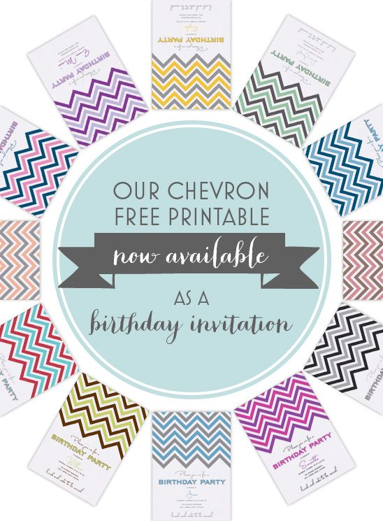Our chevron free printable invitation is now available as birthday party invite!